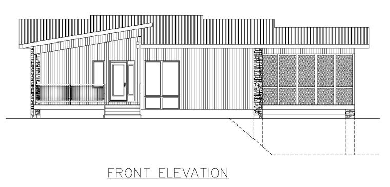 Contemporary, Modern House Plan 50324 with 3 Beds, 2 Baths, 2 Car Garage Rear Elevation