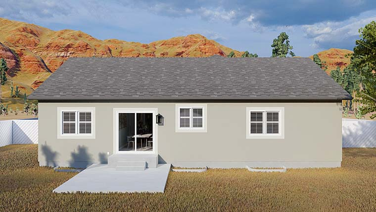 Ranch, Traditional House Plan 50534 with 5 Beds, 3 Baths, 2 Car Garage Rear Elevation