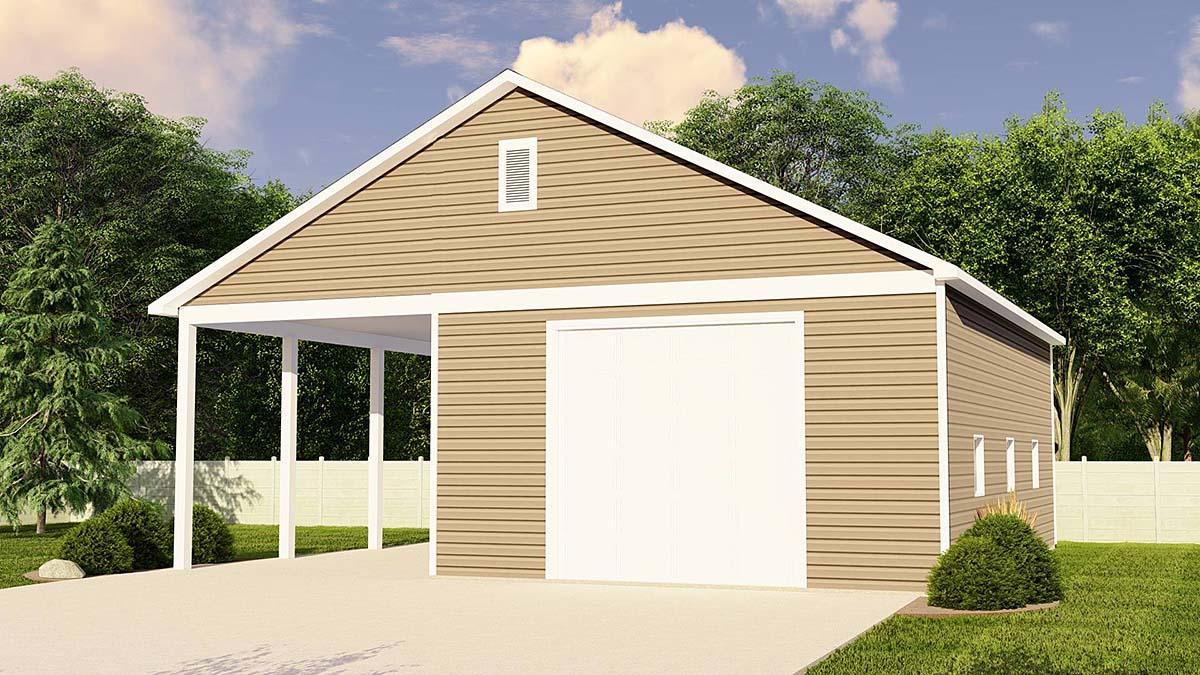 Traditional 3 Car Garage Plan 50694, RV Storage Elevation