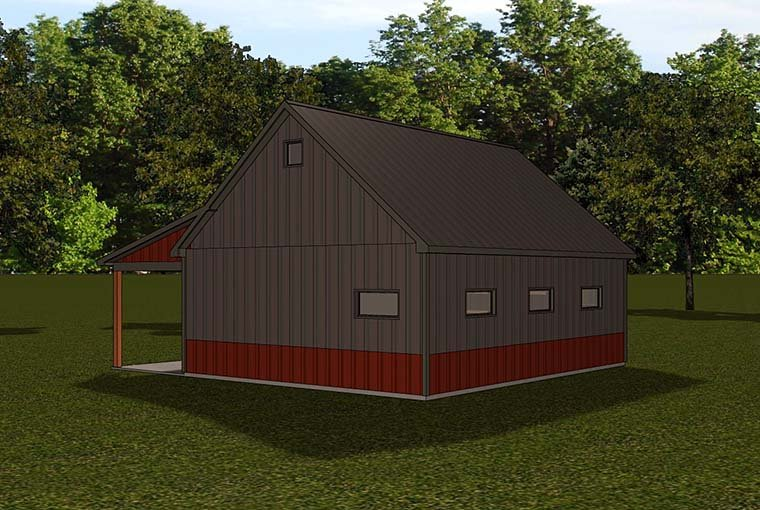 Country, Farmhouse 1 Car Garage Apartment Plan 50787 Rear Elevation