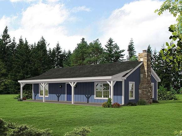 Cabin, Ranch House Plan 51429 with 2 Beds, 1 Baths Elevation