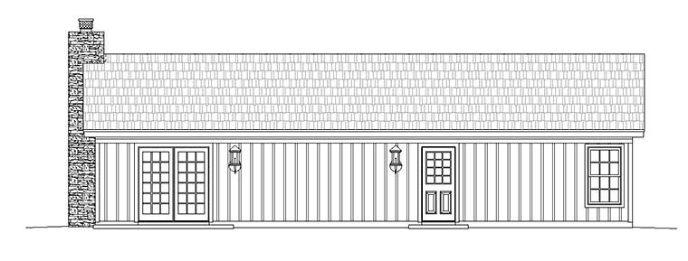 Cabin, Ranch House Plan 51429 with 2 Beds, 1 Baths Rear Elevation