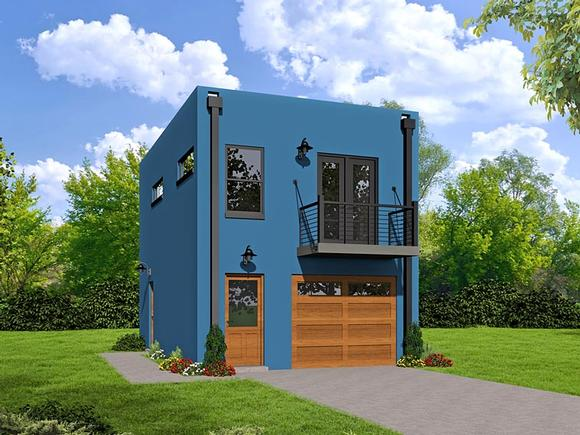 Modern Garage-Living Plan 51488 with 1 Beds, 1 Baths, 1 Car Garage Elevation