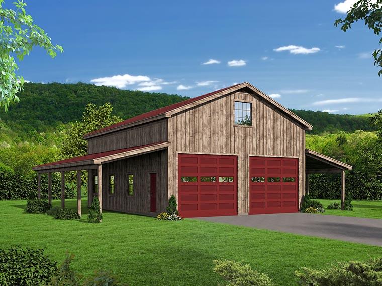 Country 2 Car Garage Plan 51507 Elevation