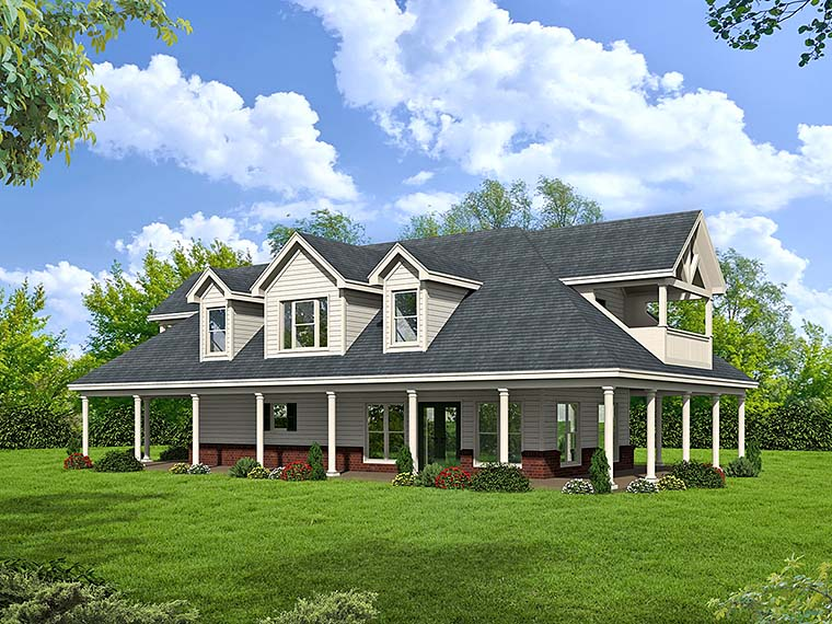 Country, Southern, Traditional House Plan 51511 with 1 Beds, 2 Baths Elevation