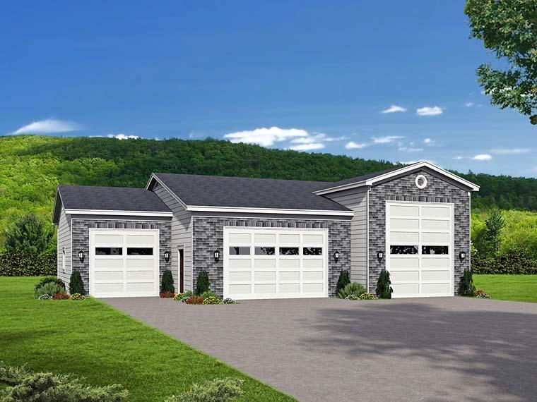 Traditional 4 Car Garage Plan 51526, RV Storage Elevation