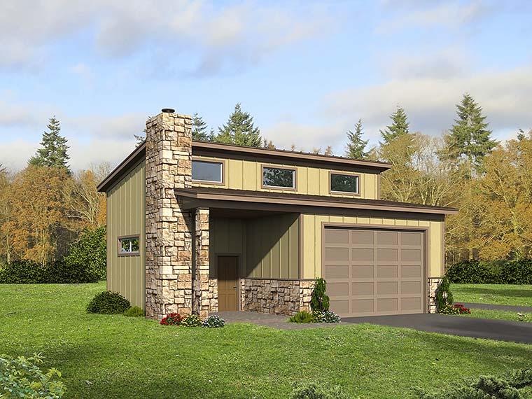 Contemporary 3 Car Garage Plan 51580, RV Storage Elevation