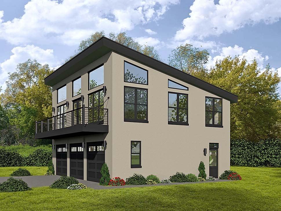Coastal, Contemporary, Modern Garage-Living Plan 51589 with 1 Beds, 2 Baths, 3 Car Garage Elevation