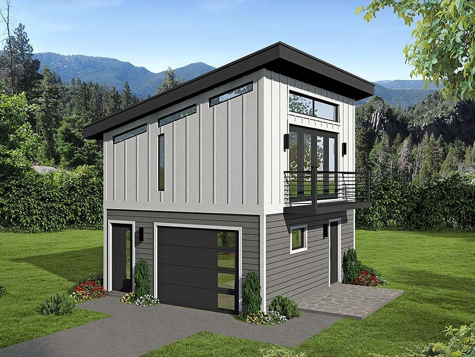 Coastal, Contemporary, Modern 1 Car Garage Apartment Plan 51609 Elevation