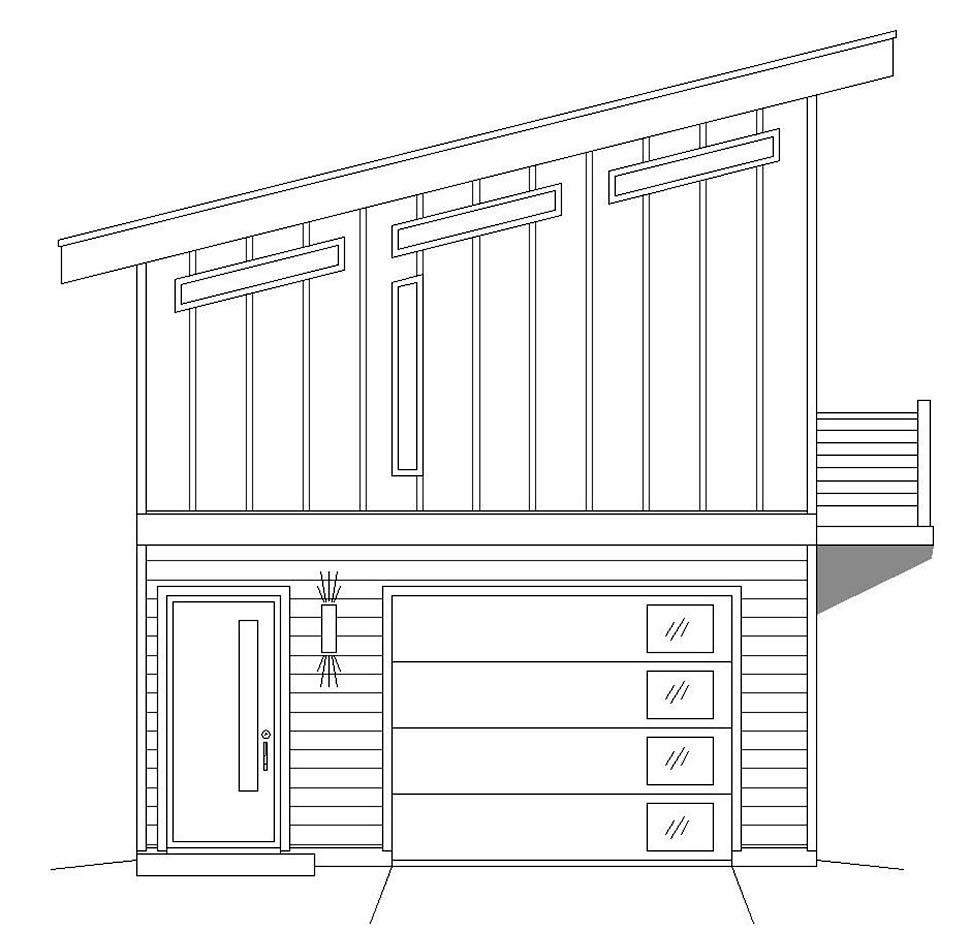 Coastal, Contemporary, Modern 1 Car Garage Apartment Plan 51609 Picture 2