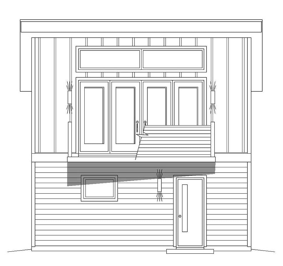 Coastal, Contemporary, Modern 1 Car Garage Apartment Plan 51609 Picture 3