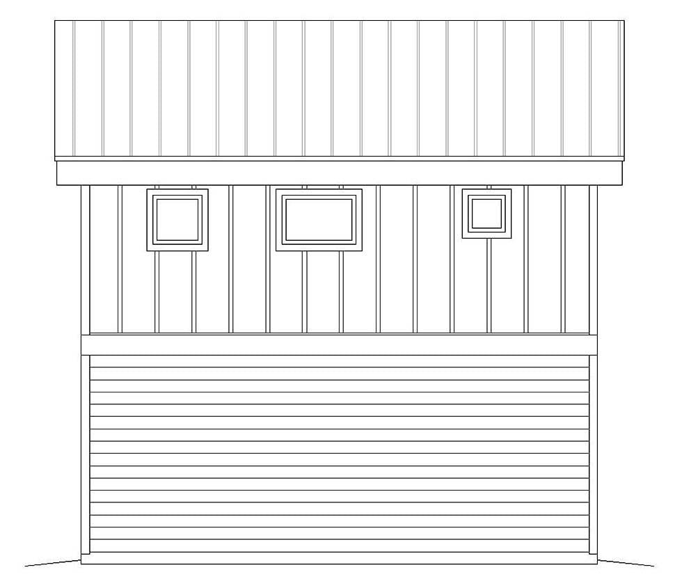 Coastal, Contemporary, Modern 1 Car Garage Apartment Plan 51609 Rear Elevation