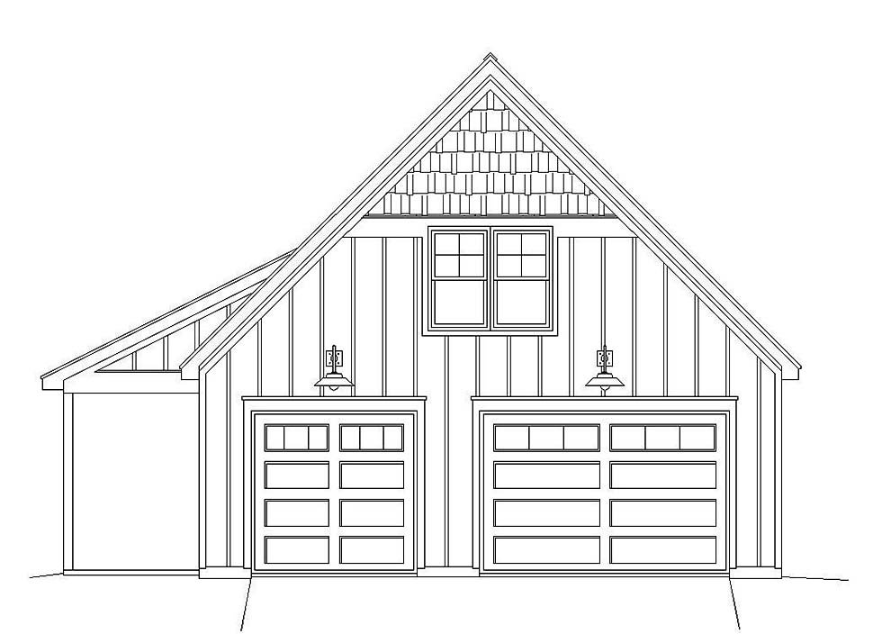 Bungalow, Country, Craftsman, Traditional 2 Car Garage Apartment Plan 51667 with 1 Beds, 1 Baths Picture 3