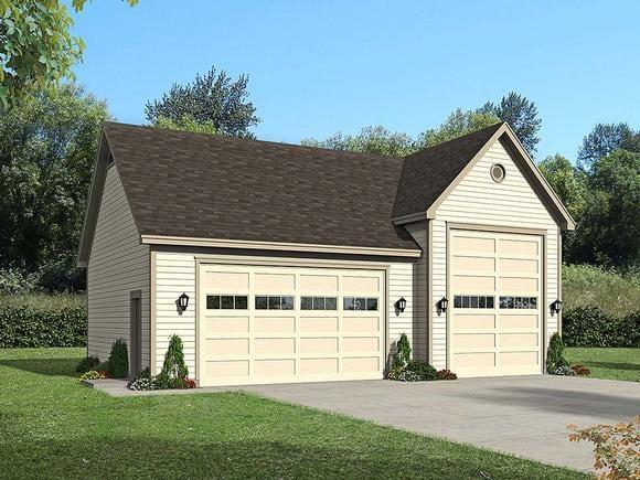 Ranch, Traditional 3 Car Garage Plan 51677, RV Storage Elevation