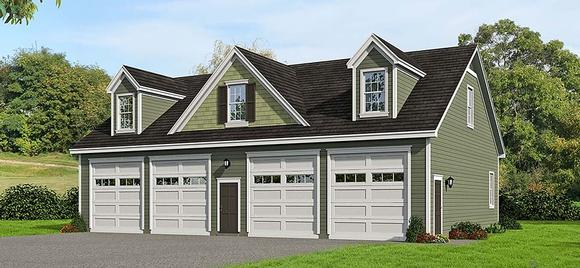 Cape Cod, Colonial, Country, Farmhouse, Saltbox, Traditional 4 Car Garage Plan 51686 Elevation