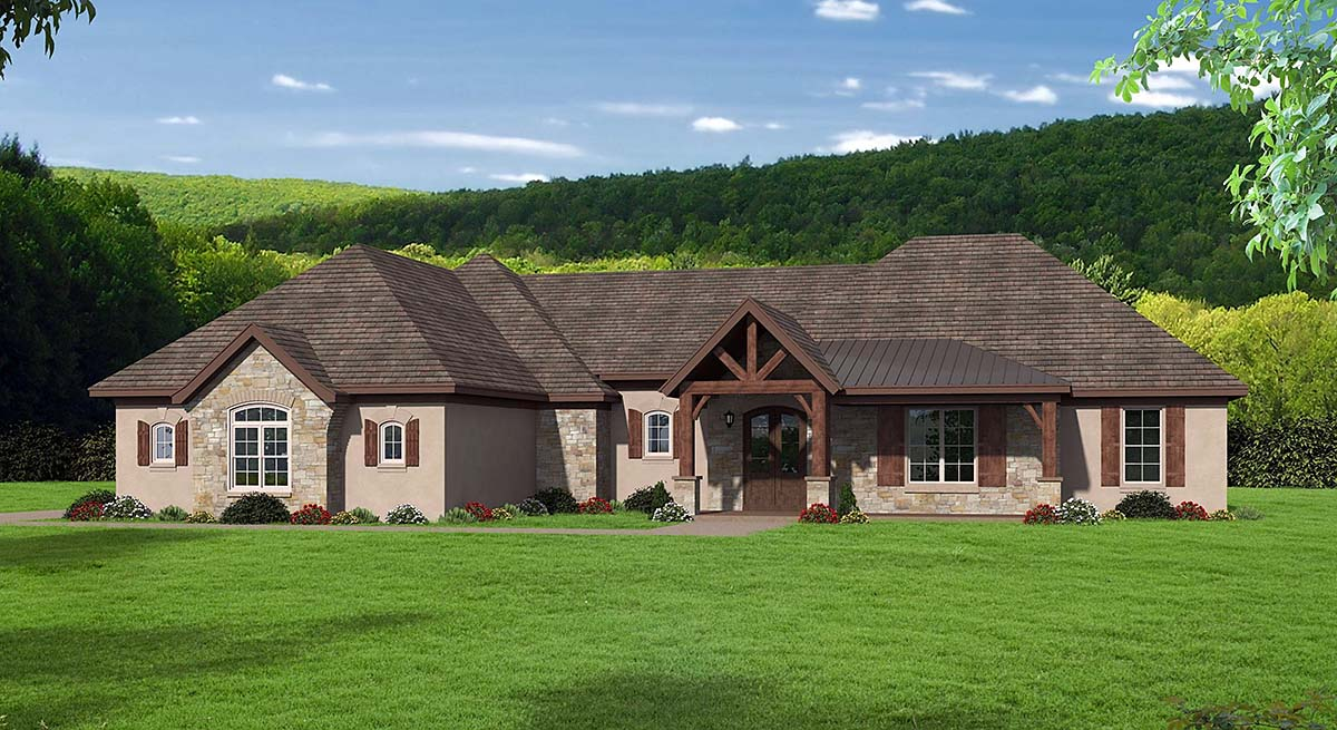 Bungalow, Country, Craftsman, European, French Country, Ranch, Traditional House Plan 51687 with 3 Beds, 3 Baths, 3 Car Garage Elevation