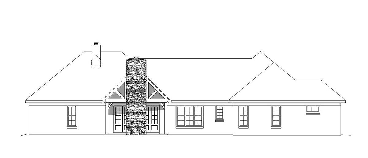 Bungalow, Country, Craftsman, European, French Country, Ranch, Traditional House Plan 51687 with 3 Beds, 3 Baths, 3 Car Garage Rear Elevation