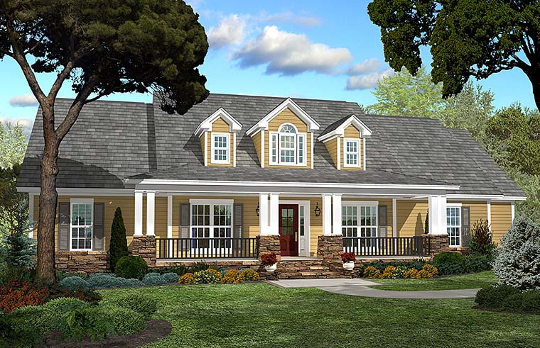 Country, Ranch, Southern, Traditional House Plan 51938 with 4 Beds, 3 Baths, 2 Car Garage Elevation