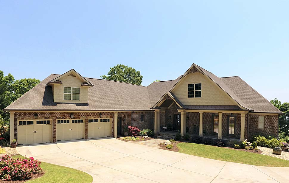 Bungalow, Craftsman, Traditional House Plan 52004 with 4 Beds, 3 Car Garage Elevation
