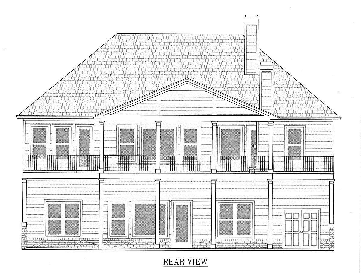 Craftsman, Farmhouse House Plan 52031 with 4 Beds, 4 Baths, 3 Car Garage Rear Elevation