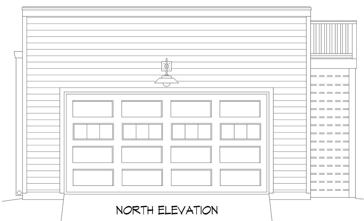 Cape Cod, Coastal, Saltbox 2 Car Garage Plan 52142 Rear Elevation