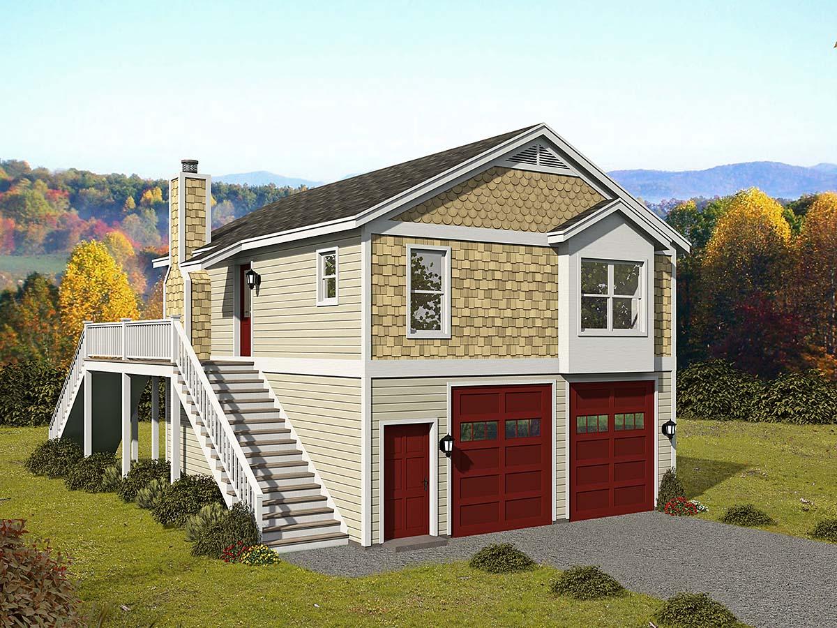 Cape Cod, Saltbox, Traditional Garage-Living Plan 52147 with 1 Beds, 1 Baths, 2 Car Garage Elevation