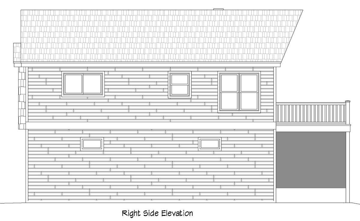 Cape Cod, Saltbox, Traditional Garage-Living Plan 52147 with 1 Beds, 1 Baths, 2 Car Garage Picture 1