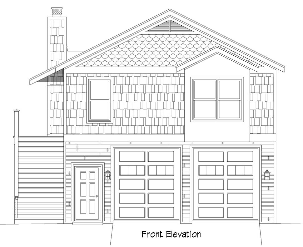 Cape Cod, Saltbox, Traditional Garage-Living Plan 52147 with 1 Beds, 1 Baths, 2 Car Garage Picture 3