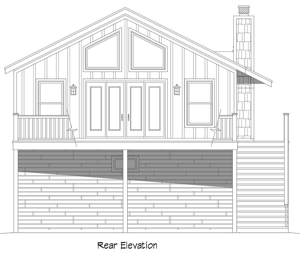 Cape Cod, Saltbox, Traditional Garage-Living Plan 52147 with 1 Beds, 1 Baths, 2 Car Garage Rear Elevation