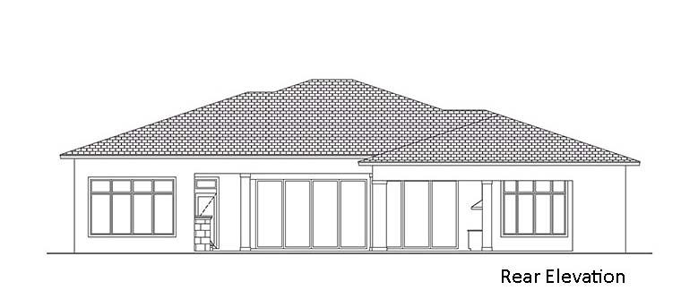 Coastal, Florida, Mediterranean House Plan 52953 with 4 Beds, 6 Baths, 3 Car Garage Rear Elevation