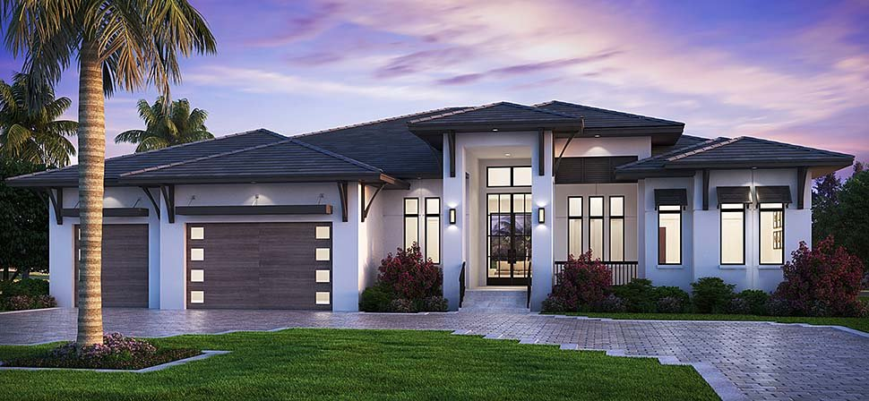 Coastal, Contemporary, Florida House Plan 52961 with 5 Beds, 6 Baths, 3 Car Garage Elevation