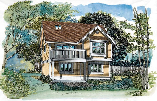 Traditional 2 Car Garage Apartment Plan 55549 with 1 Beds, 1 Baths Elevation