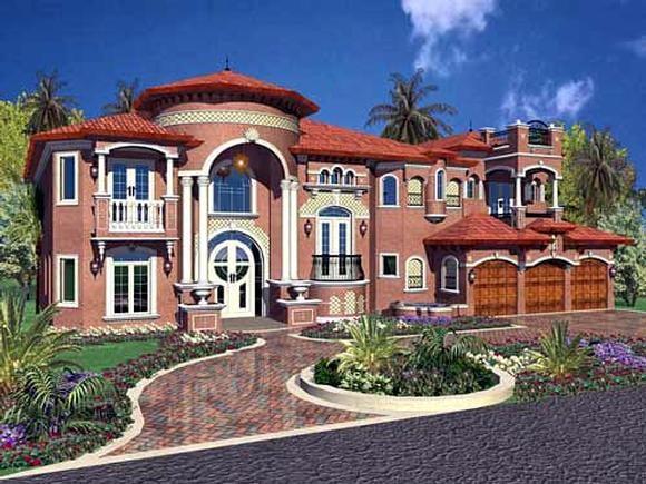 Mediterranean House Plan 55802 with 6 Beds, 8 Baths, 3 Car Garage Elevation