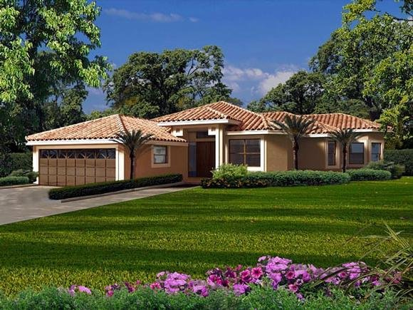 Florida, One-Story House Plan 55873 with 3 Beds, 3 Baths, 2 Car Garage Elevation