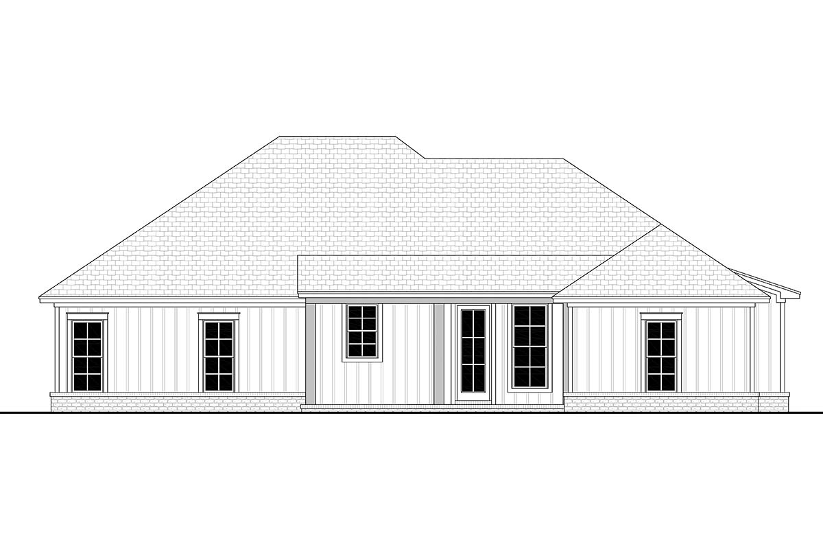Country, Craftsman, Farmhouse House Plan 56704 with 4 Beds, 2 Baths, 2 Car Garage Rear Elevation