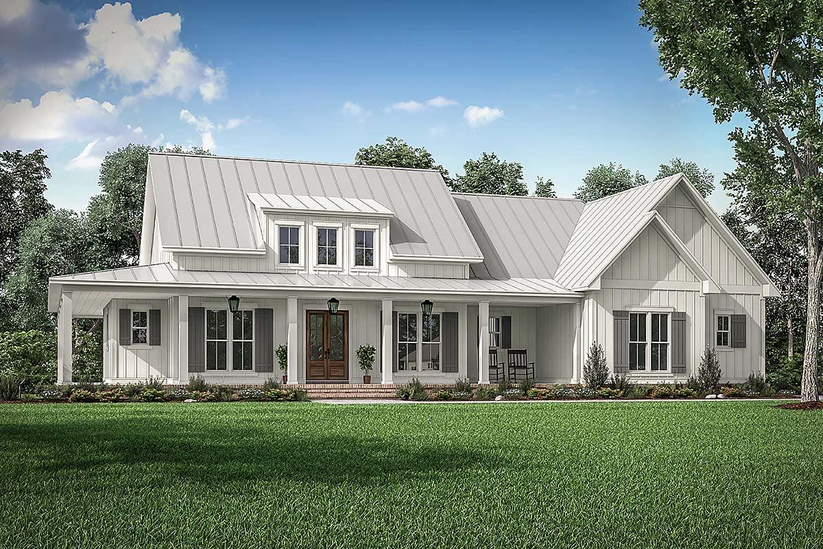 House Plan 56717 - Farmhouse Style with 2395 Sq Ft, 3 Bed, 2 Bath, 1 Half  Bath