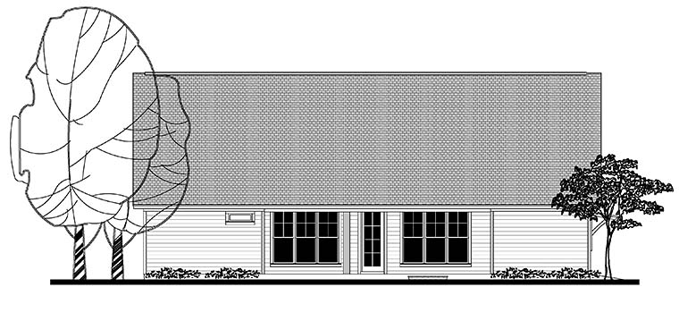 Country, Craftsman, Southern, Traditional House Plan 56910 with 3 Beds, 3 Baths, 2 Car Garage Rear Elevation