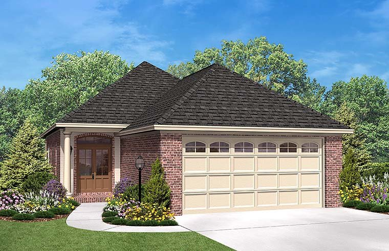 European, French Country House Plan 56947 with 3 Beds, 2 Baths, 2 Car Garage Elevation
