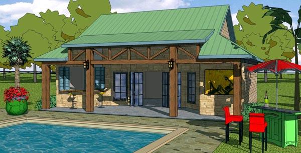 Coastal, Cottage, Craftsman House Plan 57856 with 1 Beds, 1 Baths Elevation