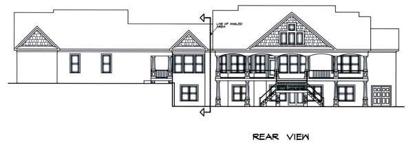 Craftsman House Plan 58232 with 5 Beds, 7 Baths, 3 Car Garage Rear Elevation