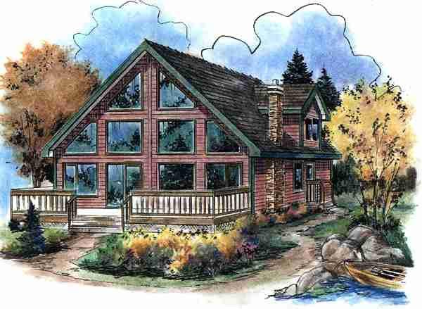 Contemporary, Narrow Lot House Plan 58543 with 3 Beds, 2 Baths Elevation