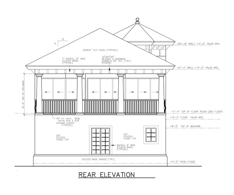 Florida House Plan 58970 with 3 Beds, 4 Baths, 1 Car Garage Rear Elevation