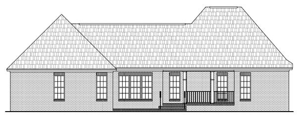 Country, European, French Country House Plan 59125 with 3 Beds, 3 Baths, 2 Car Garage Rear Elevation