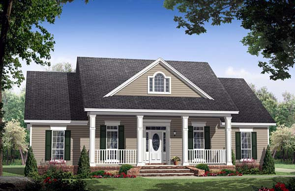 Country, Ranch, Traditional House Plan 59155 with 3 Beds, 3 Baths, 2 Car Garage Elevation