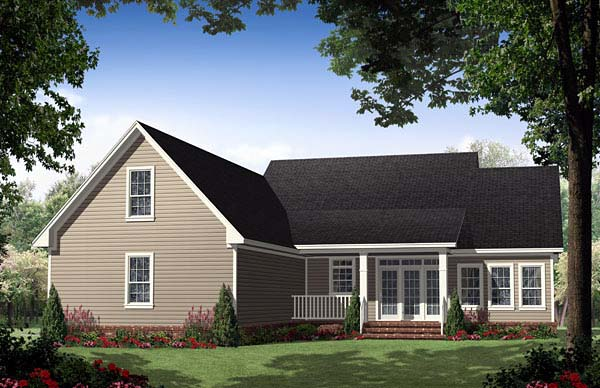 Country, Ranch, Traditional House Plan 59155 with 3 Beds, 3 Baths, 2 Car Garage Rear Elevation