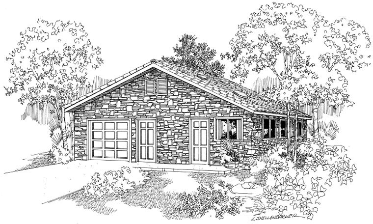 Country 1 Car Garage Plan 59440 Elevation