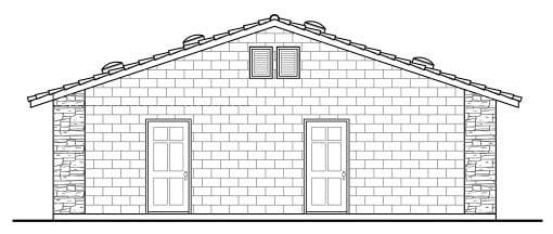 Country 1 Car Garage Plan 59440 Rear Elevation