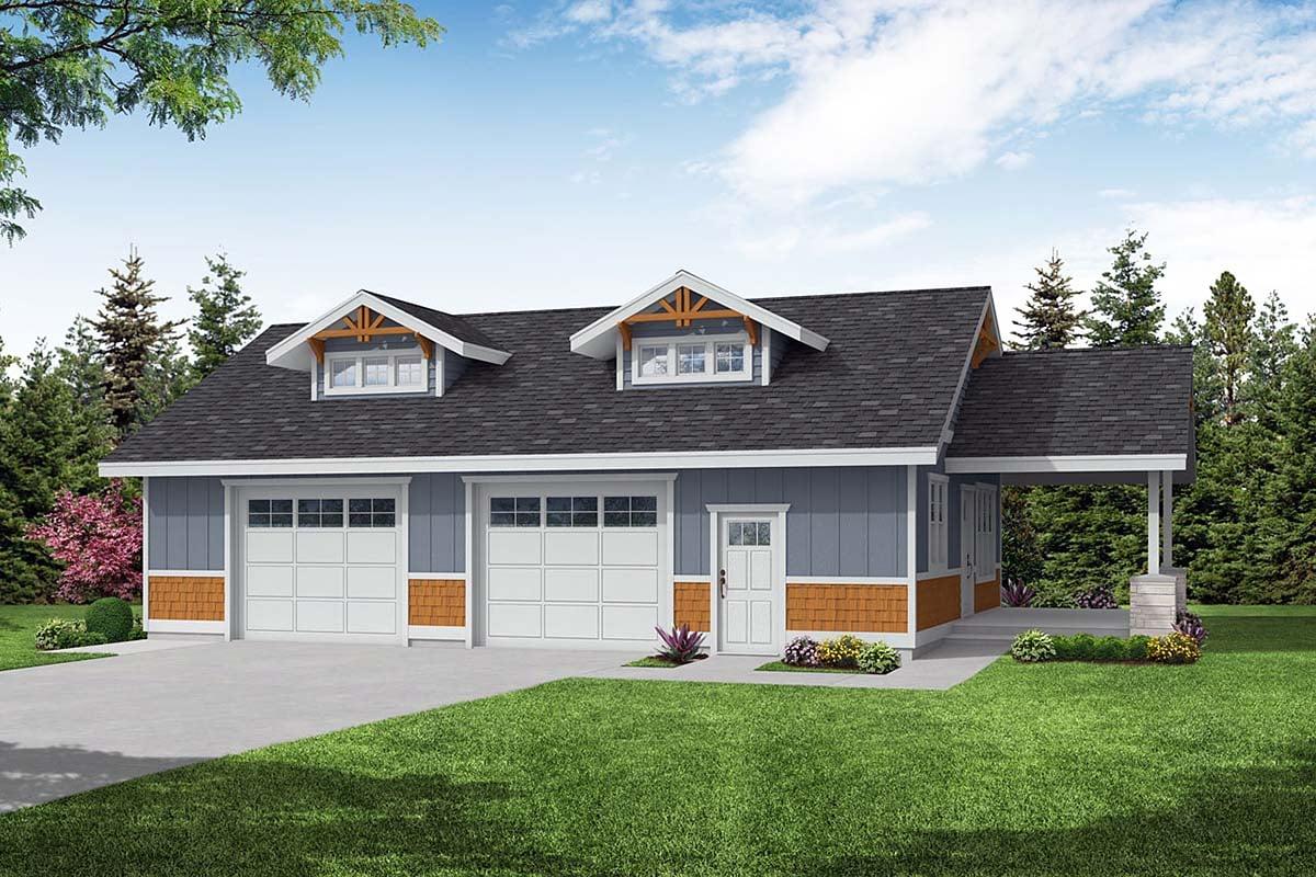 Craftsman 2 Car Garage Plan 59457 Elevation