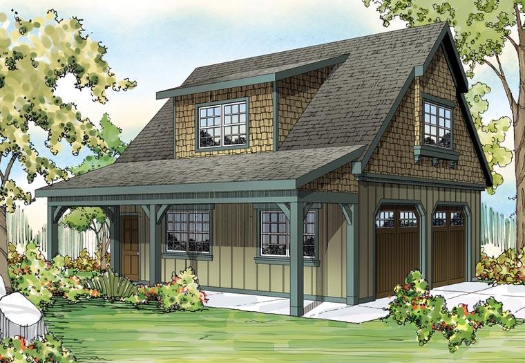 Country, Craftsman, Farmhouse 2 Car Garage Plan 59479 Picture 1
