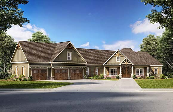 Cottage, Country, Craftsman House Plan 60028 with 4 Beds, 4 Baths, 3 Car Garage Elevation